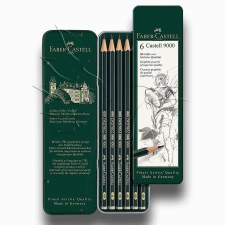 Grafitceruza készlet - Faber-Castell 9000 Art Set Tin 6pcs