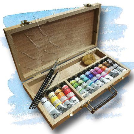 Akvarellkészlet - Folyékony művész akvarellkészlet fa festődobozban