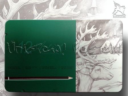 Grafitceruza készlet - Renesans 12db + kiegészítők fém dobozban