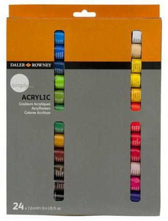 Acrylic Paint Kit - Daler-Rowney Simply Acrylic paint set 24x12ml
