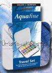 Akvarellfesték készlet, Daler-Rowney Aquafine Travel Set - 24 szín fémdobozban