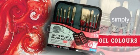 Ecsetkészlet - Daler-Rowney Simply White Bristle Brush Zip Case 10db