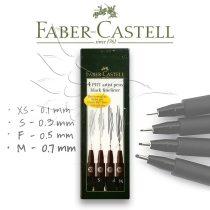 Ecsetfilc készlet - Faber-Castell 4 PITT Artist Pens Black FINELINER
