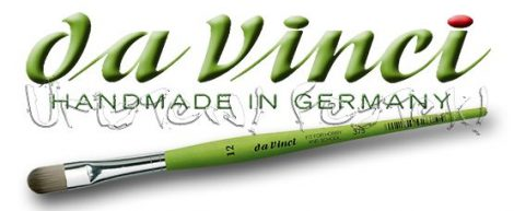 Ecset - Da Vinci - szintetikus, zöldszárú lapított íves - MACSKANYELV - KÜLÖNBÖZŐ MÉRETEKBEN!