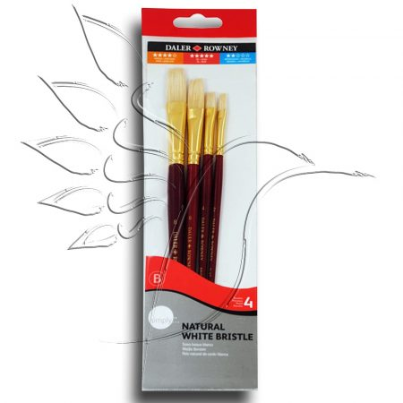 Sörteecset készlet - Daler-Rowney Natural White Bristle 4pcs