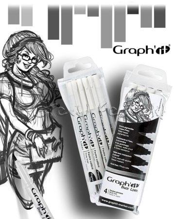 Filckészlet - Graph'it Grey tones ecsetfilc - 4db