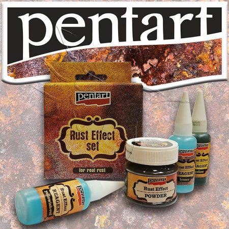 Rozsda-hatás - Pentart Rust Effect set, 3x20ml + 1x120g