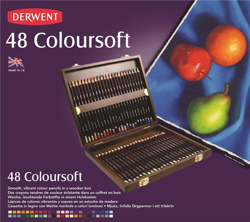 Color Pencil Set - Derwent COLOURSOFT - elegant wooden box, extra soft, 48 pcs