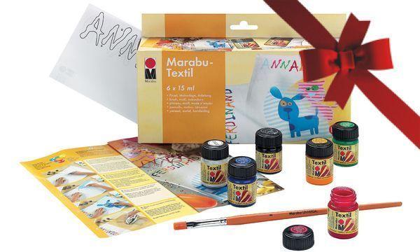 Textilfestő alapkészlet, 6 színnel - Marabu