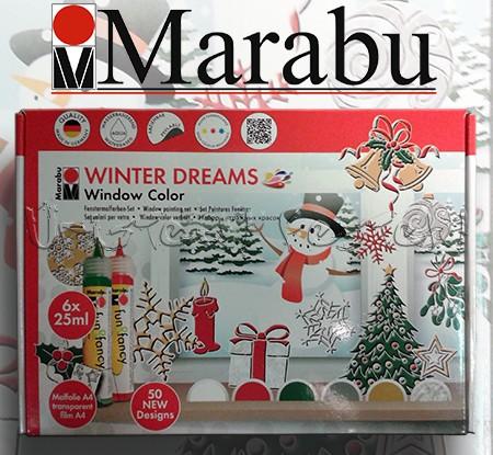 Üvegmatricafesték - Marabu Winter Dream Window Color - 6 szín kiegészítőkkel